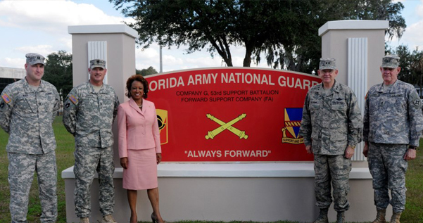 Jennifer meets with National Guardsmen at the National Guard Armory