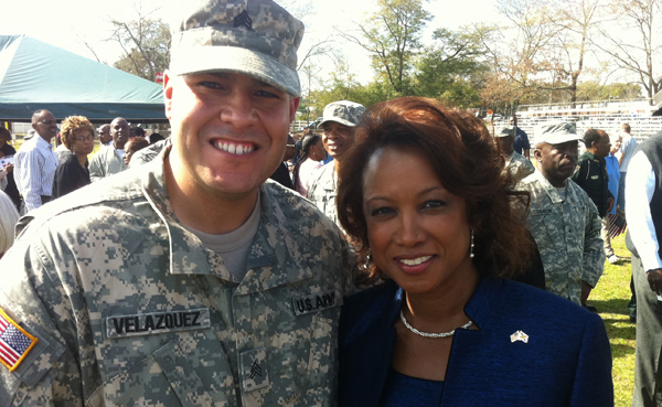 Jennifer meets with Sgt Velazquez and the 869th-669th Eng Company prior to Deployment