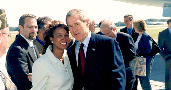 Jennifer greets President George W. Bush in Jacksonville, FL